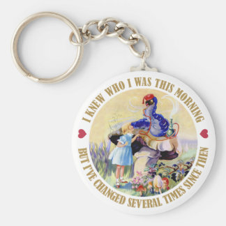 Alice and the Caterpillar in Wonderland Basic Round Button Key Ring