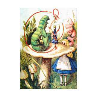 Alice and the Caterpillar in Wonderland Canvas Print