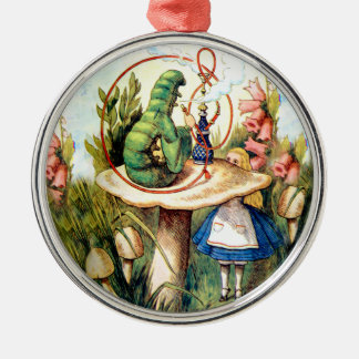 Alice and the Caterpillar in Wonderland Silver-Colored Round Decoration