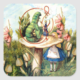 Alice and the Caterpillar in Wonderland Square Sticker