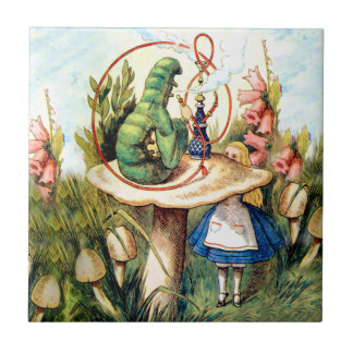 Alice and the Caterpillar in Wonderland Tile