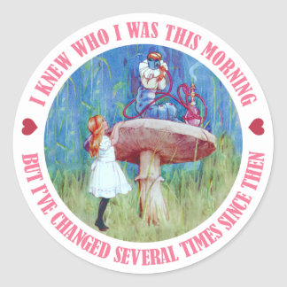 ALICE AND THE CATERPILLAR ROUND STICKERS