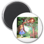 Alice and the Cheshire Cat in Wonderland 6 Cm Round Magnet