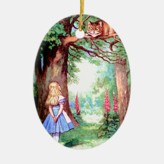 Alice and The Cheshire Cat in Wonderland Christmas Ornament