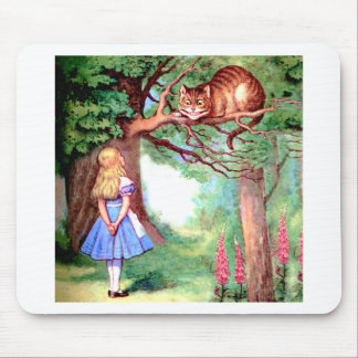 Alice and the Cheshire Cat in Wonderland Mouse Pads