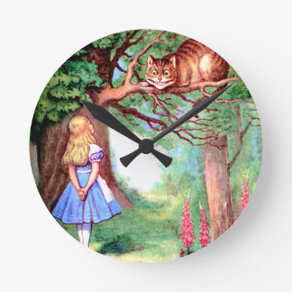 Alice and The Cheshire Cat in Wonderland Round Clock