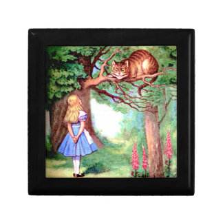 Alice and The Cheshire Cat in Wonderland Small Square Gift Box