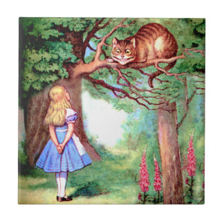 Alice and The Cheshire Cat in Wonderland Small Square Tile