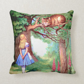 Alice and the Cheshire Cat in Wonderland Throw Pillow