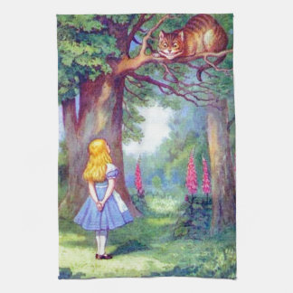 Alice and the Cheshire Cat Tea Towel