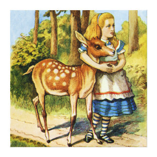 Alice and the Deer in Wonderland Canvas Print