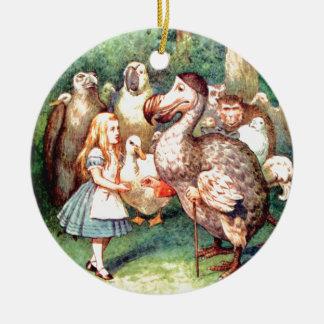 Alice and The Dodo Bird in Wonderland Round Ceramic Decoration