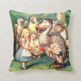 Alice and the Dodo Bird in Wonderland Throw Pillow