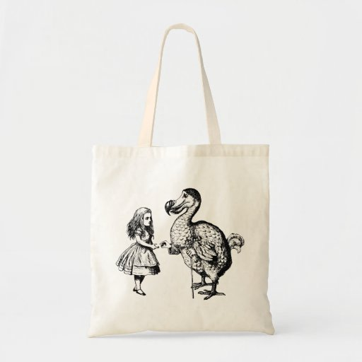 Alice and the Dodo Inked Black Tote Bags