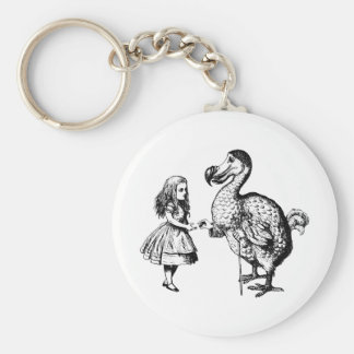 Alice and the Dodo Inked Black Basic Round Button Key Ring