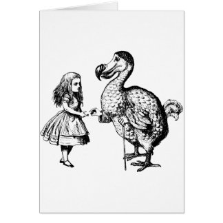 Alice and the Dodo Inked Black Greeting Card