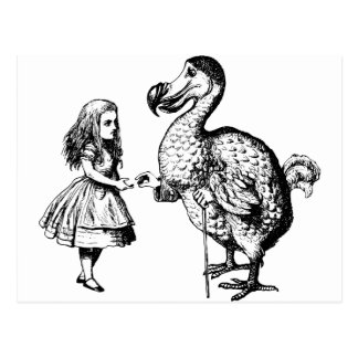 Alice and the Dodo Inked Black Postcard