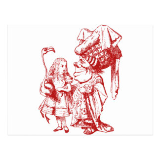 Alice and the Duchess Inked Red Postcard