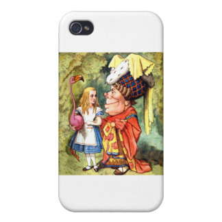 Alice and the Duchess Play Flamingo Croquet iPhone 4 Cover