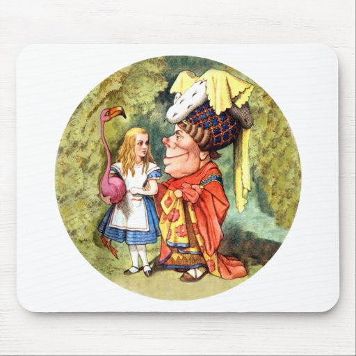 Alice and the Duchess Play Flamingo Croquet Mousepads