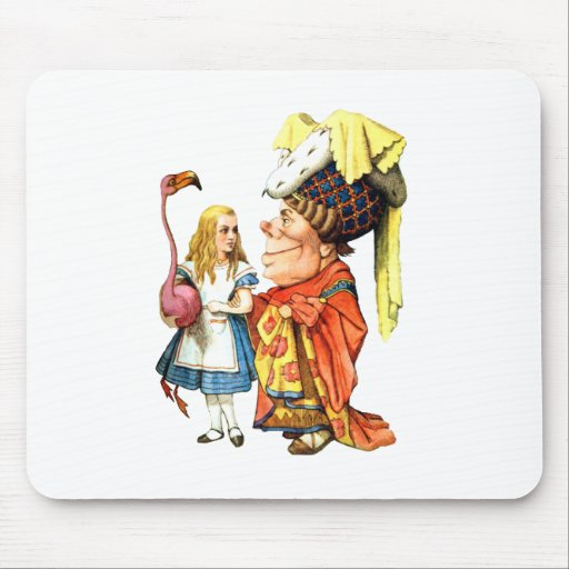 Alice and the Duchess Play Flamingo Croquet Mouse Pad