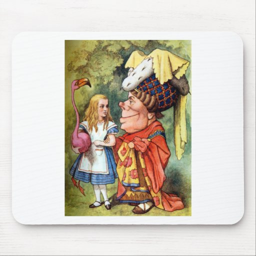 Alice and the Duchess Play Flamingo Croquet Mouse Pads