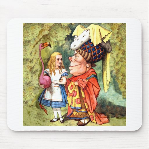 Alice and the Duchess Play Flamingo Croquet Mousepad