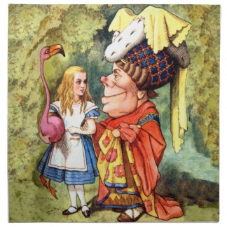 Alice and the Duchess Play Flamingo Croquet Napkin