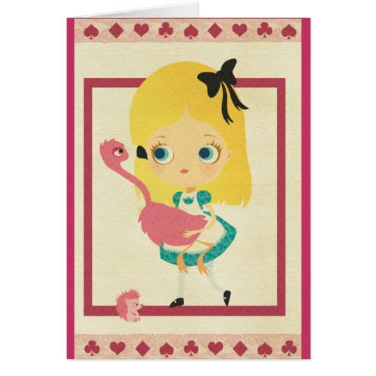 Alice and the Flamingo Greeting Card