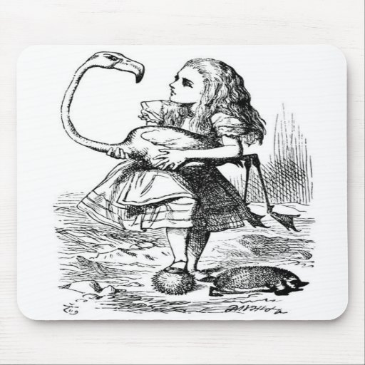Alice and the Flamingo Mouse Pad