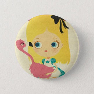 Alice and the Flamingo Pin button