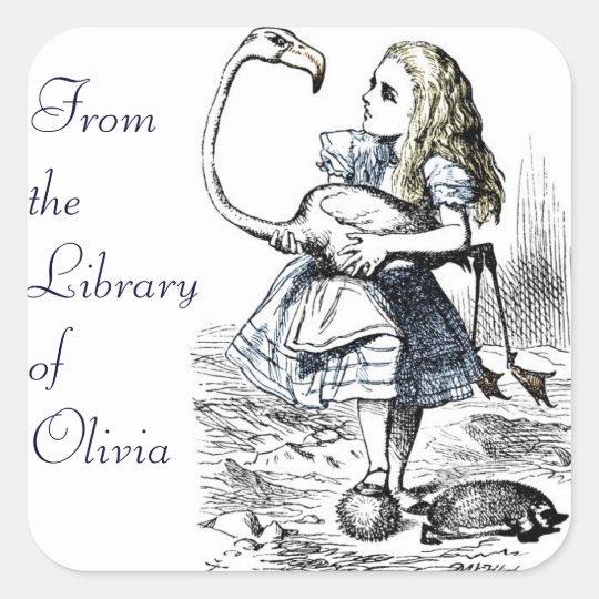 Alice and the Flamingo Square Sticker