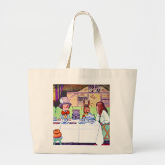 Alice and the Mad Hatter's Tea Party Large Tote Bag
