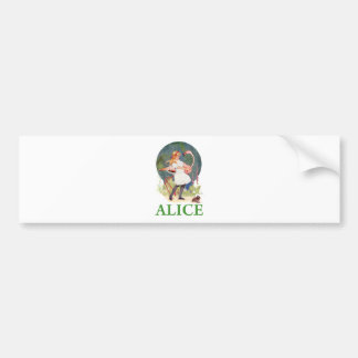 ALICE AND THE PINK FLAMINGO PLAY CROQUET BUMPER STICKER