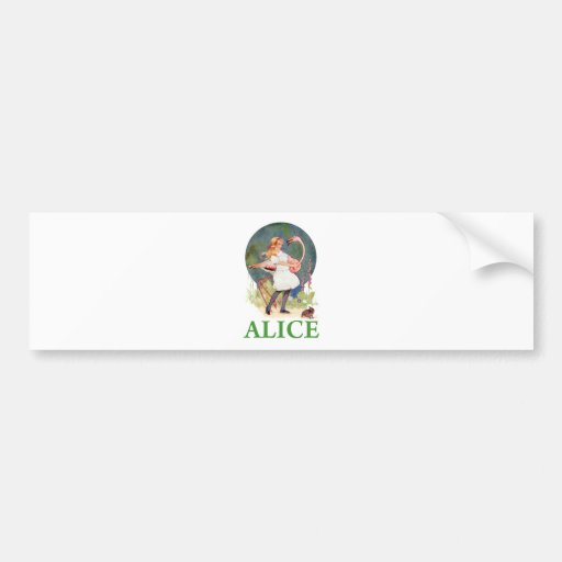 ALICE AND THE PINK FLAMINGO PLAY CROQUET BUMPER STICKERS