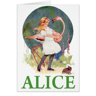 ALICE AND THE PINK FLAMINGO PLAY CROQUET GREETING CARD