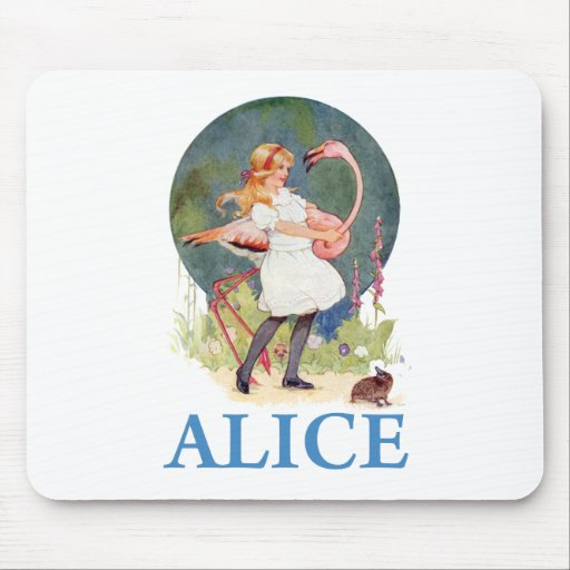 ALICE AND THE PINK FLAMINGO PLAY CROQUET MOUSE PADS