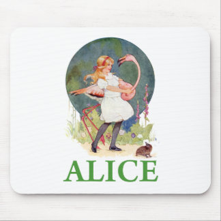 ALICE AND THE PINK FLAMINGO PLAY CROQUET MOUSE PAD