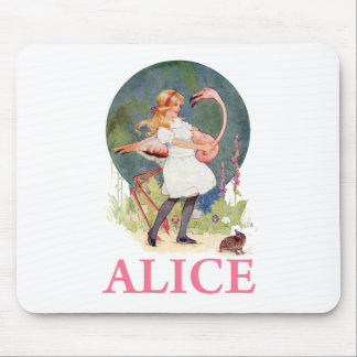 ALICE AND THE PINK FLAMINGO PLAY CROQUET MOUSEPAD