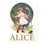 ALICE AND THE PINK FLAMINGO PLAY CROQUET POST CARDS