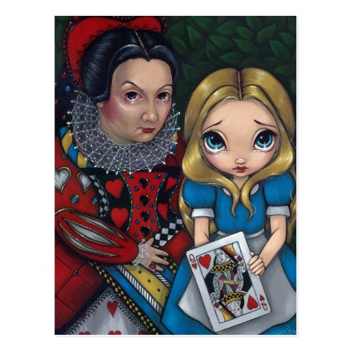 """Alice and the Queen of Hearts"" Postcard"