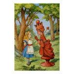 Alice and the Red Queen in Wonderland Poster
