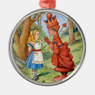 Alice and the Red Queen in Wonderland Silver-Colored Round Decoration
