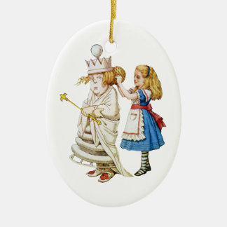 Alice and the White Queen in Wonderland Ceramic Oval Decoration