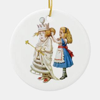 Alice and the White Queen in Wonderland Round Ceramic Decoration