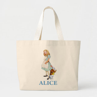 Alice and the White Rabbit in Wonderland Large Tote Bag