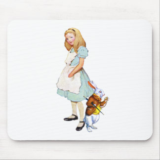 Alice and the White Rabbit in Wonderland Mouse Pad