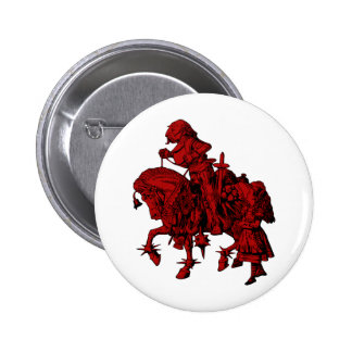 Alice and White Knight Inked Red Fill Pinback Button