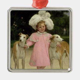Alice Antoinette de la Mar, aged five Silver-Colored Square Decoration