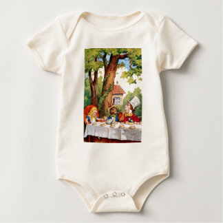 Alice at the Mad Hatter's Tea Party in Wonderland Baby Bodysuit